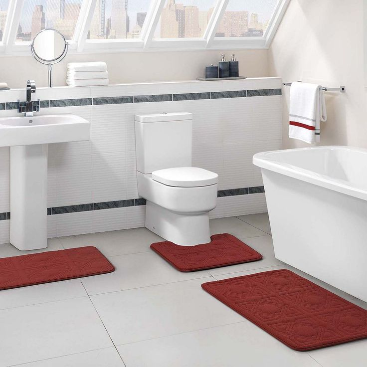 Vcny Byzantine 3-pc. Memory Foam Bath Rug Set, Red