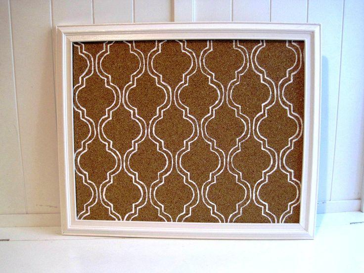 Memo / Cork / Bulletin Board / White Mediterranean Tile Pattern / Vintage Frame. $30.00, via Etsy.