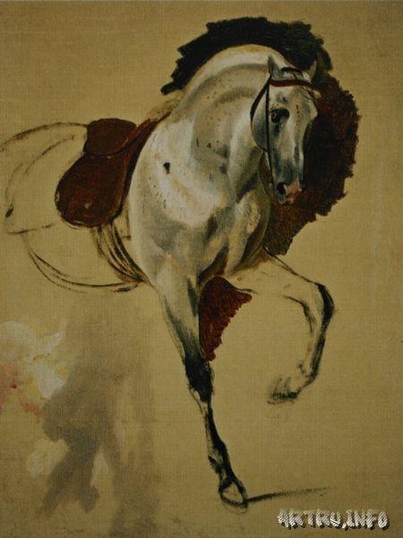 Лошадь. Этюд для «Портрета сестер Шишмаревых». 1839. 71 x 55. Холст, масло.