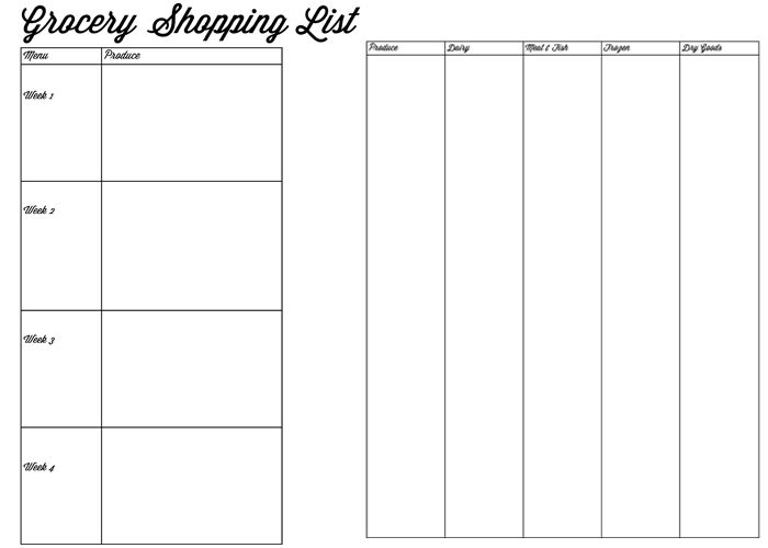 Free grocery shopping list printables! Once a month grocery shopping tips! HandmadeintheHeartland.com