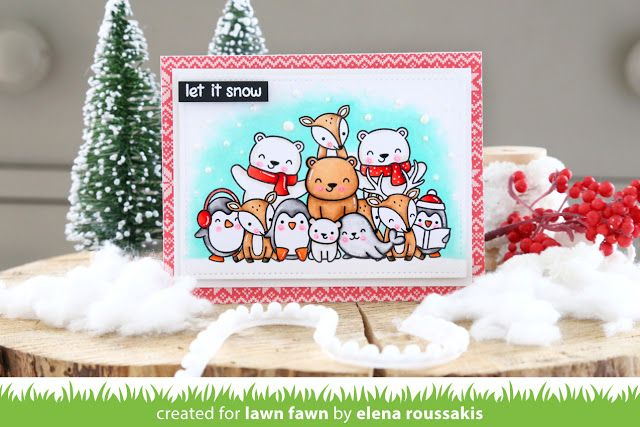the Lawn Fawn blog: We Wish You a Very Fawny Holiday Week 2017 {day 1} Cute critters gathered on Elena's card! Beary Happy Holidays, Here We Go A-Waddling, Toboggan Together, Sealed with a Kiss
