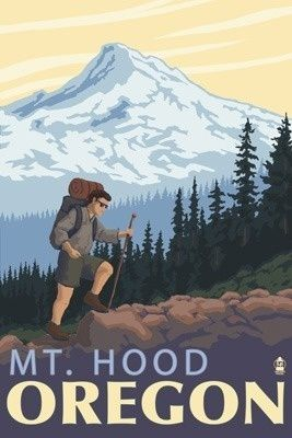 Mt. Hood Hiker Scene - Lantern Press Poster