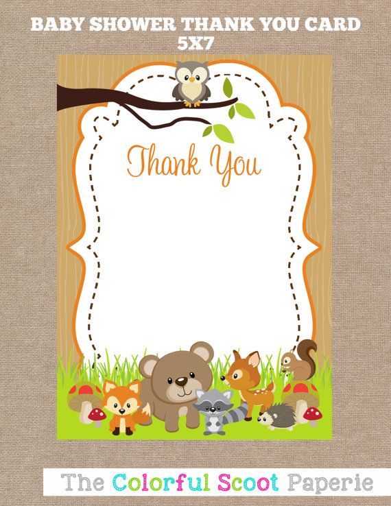 Woodland Animal Baby Shower Thank You Cards, INSTANT Download   5X7, Thank  You Notes