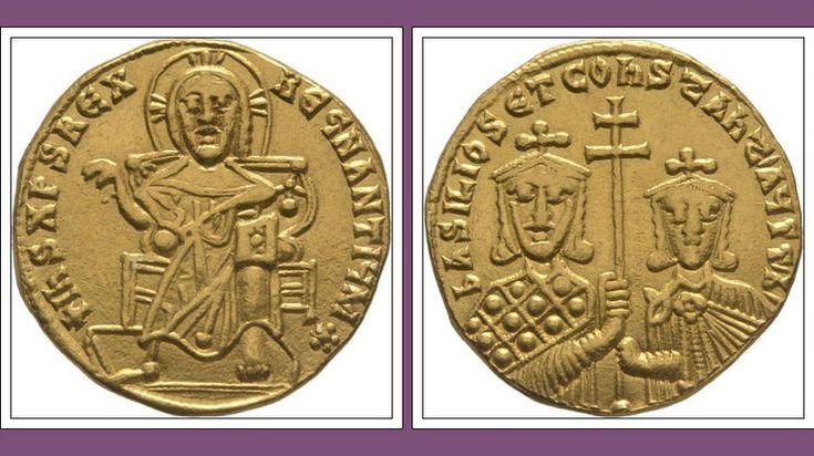 Gold Solidus Basilos I Constantin Christus Loros -Constantinople