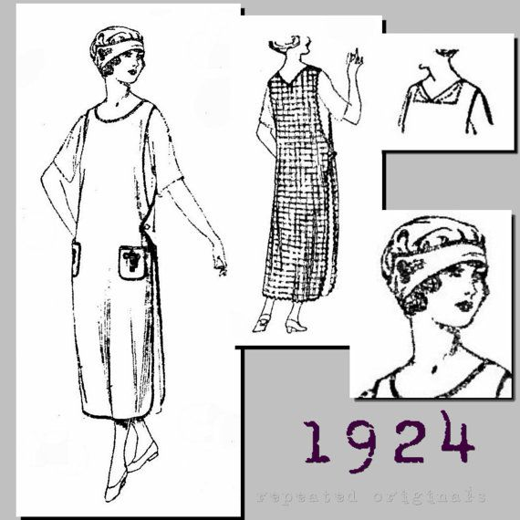 1920s Ladies Slip Over Apron and Cap (40 bust)  - Vintage Reproduction PDF Pattern - 1920s - made from original 1924 pattern $11.75 AT vintagedancer.com