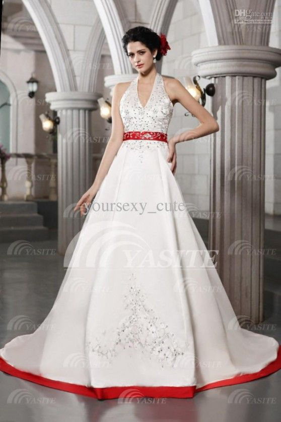 Luxury White And Red Wedding Dress Halter Ball Gown