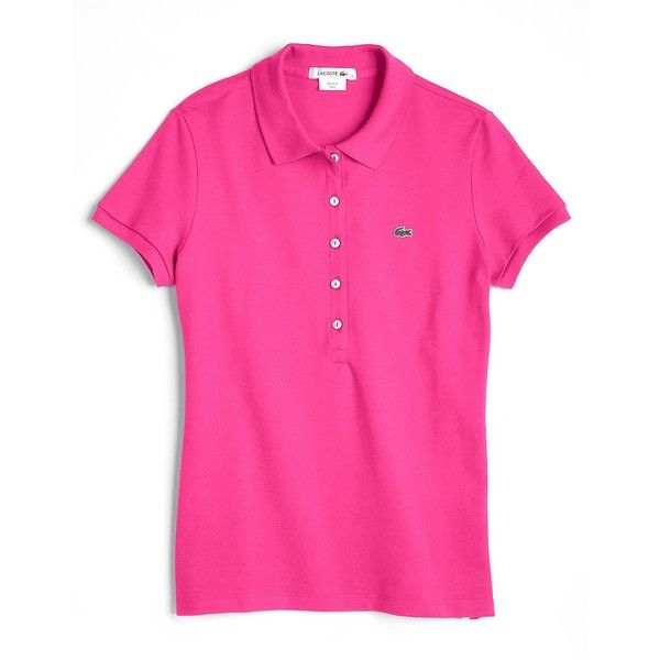 LACOSTE Five-Button Cotton Pique Polo Shirt (215 DKK) ❤ liked on Polyvore featuring tops, pink, polo, short sleeve tops, pink top, pink polo shirts, polo shirts and polo collar shirts