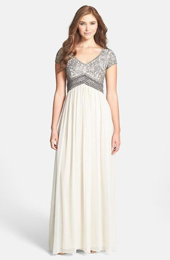 Adrianna Papell Embellished Cap Sleeve Gown available at #Nordstrom