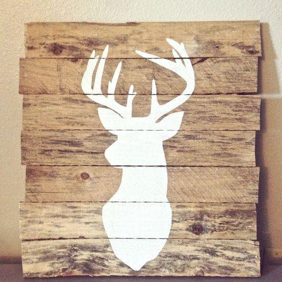 Deer Silhouette Painting On Reclaimed Pallet By