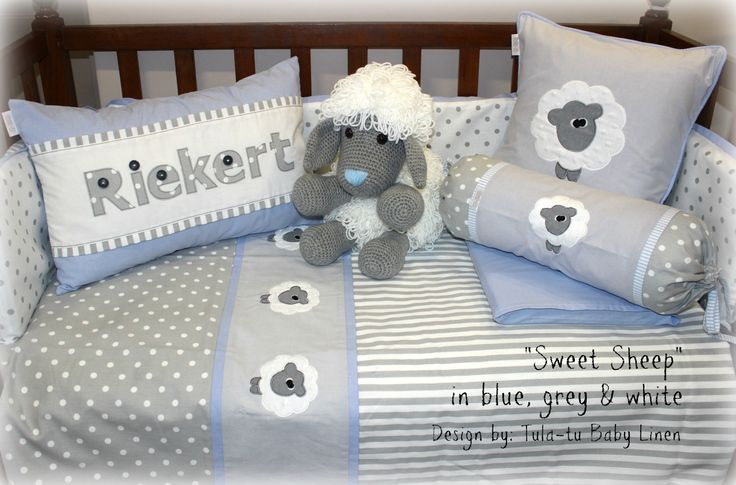 """Sweet Sheep"" nursery linen in grey, white & light blue accents. Linen are made to order by Tula-tu Baby Linen. View more designs on our website: www.tulatu.co.za"