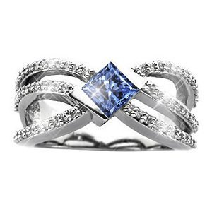 Crown Princess Cut 18K Yellow Gold Ring with Fancy Blue Diamond 3/4 carat Princess cut: Jewelry: Amazon.com    I want this!!!