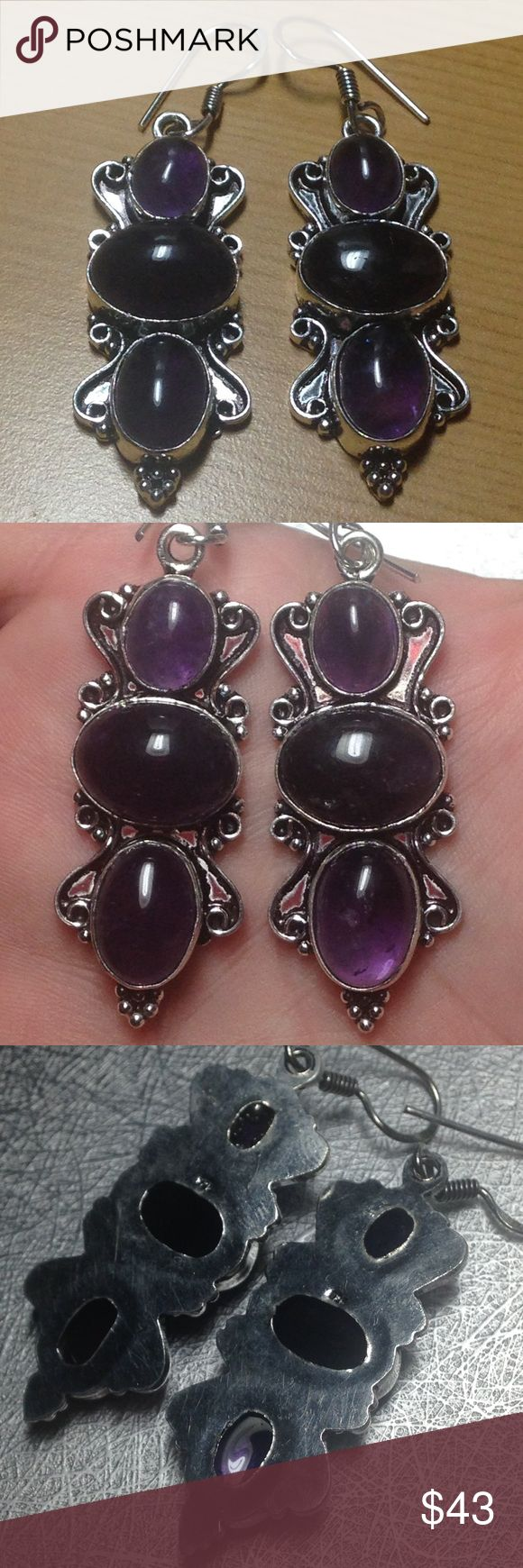 🔥New! Genuine Deep Amethyst .925 (stamped) + Gift 🔥New! just in ! 22+tcw Genuine deep Royal Purple. Brazilian Amethyst Trilogy Gemsone .925 Ornate Hook Earrings (Stamped hooks & stamped silver skilled Silversmith Handcrafted beauties) Features four lovely scrolls on silver plates w/ 5 bottom Silver beads . Total size is 45x19mm (10x9mm, 12x15mm, 13.5x10mm) - ✔️🎁Earns a free new mystery thank you gift ✔️Top rated trusted seller ✔️16 + yrs selling online ✔️Ships quickly✔️comes in a new…