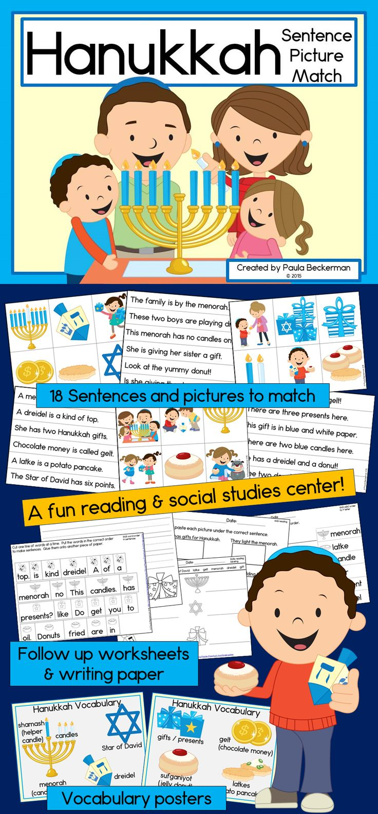 Learn about Hanukkah, the festival of lights, with this fun reading center! First or second grade students will read about the menorah, gelt, latkes, sufganiyot, dreidel, gifts, and more, then follow up with printable worksheets. TpT $