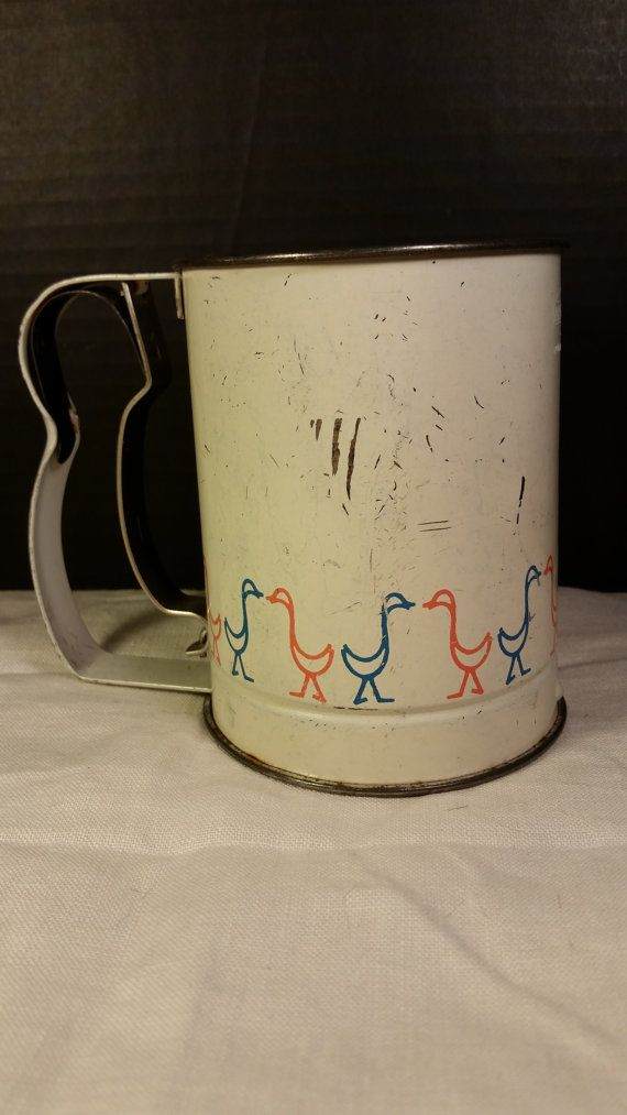 Androck Flour Sifter with Red and Blue Ducks Mid Century Vintage Painted