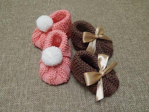 Bebé / Patucos o escarpines de bebé paso a paso en video | Crochet y Dos agujas