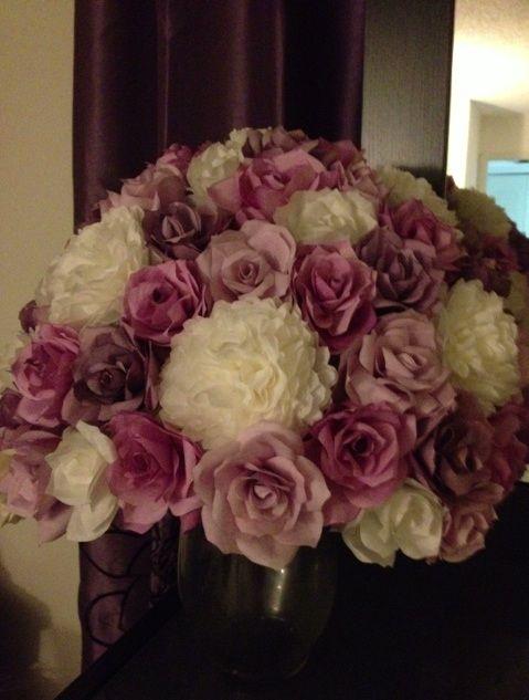 DIY coffee filter orchids :  wedding flowers purple purple orchids Centerpiece Sample