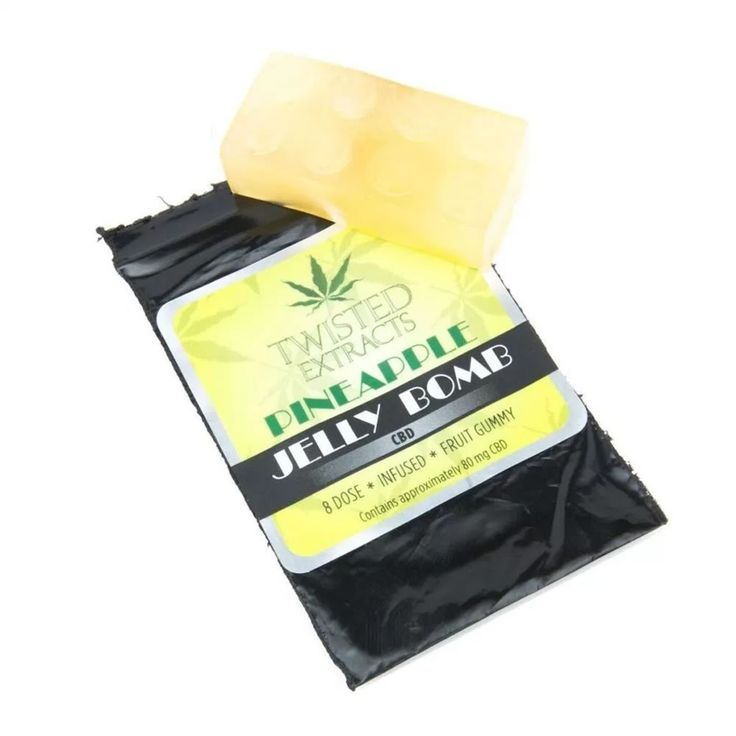 Twisted Extracts CBD Jelly Bomb. These fruit flavored gummies come in the classic Jelly bomb block shape and are approximately 80mg of CBD each. They come in two new flavors pineapple & peach. #twistedextracts #cbdjellybomb #jellybomb #legocandy #cbdedibles #edibles #onlinedispensary