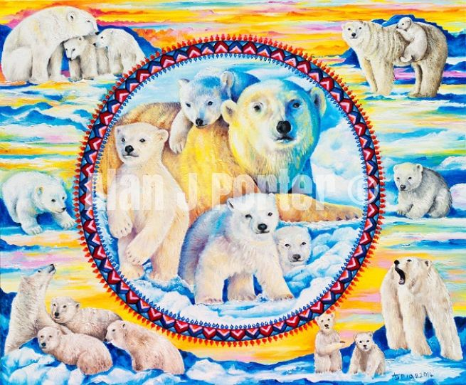#alanjporterart #kompas #art #animals #polarbears #paintings #snow #sky #sun #oil #beautifulcolors #brood