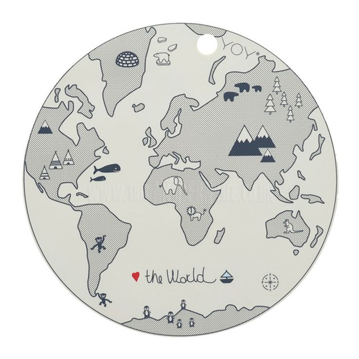 Place Mat . The World - Round / Black & Off White