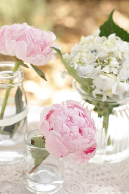 peonies everywhere... in vases, on the cake, in a tin...