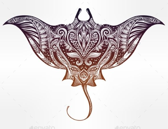Ornate Stingray Fish Vector Illustration. - Animals Characters