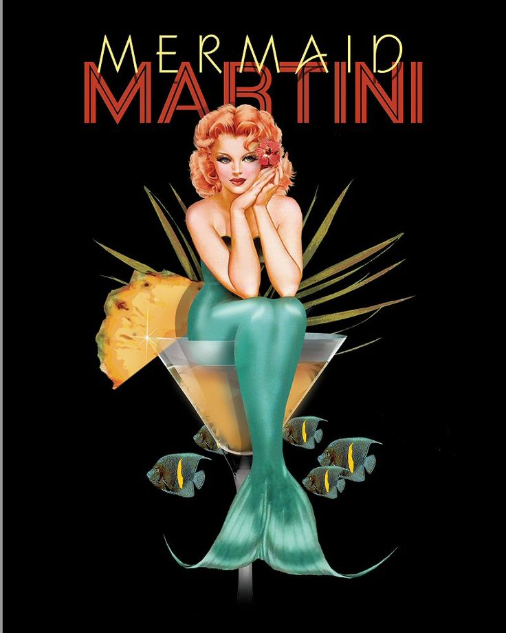 Mermaid Martini: 1oz cherry liqueur, 4oz gin, 2 each lemon wedge (garnish)- stir or shake then strain into martini glass