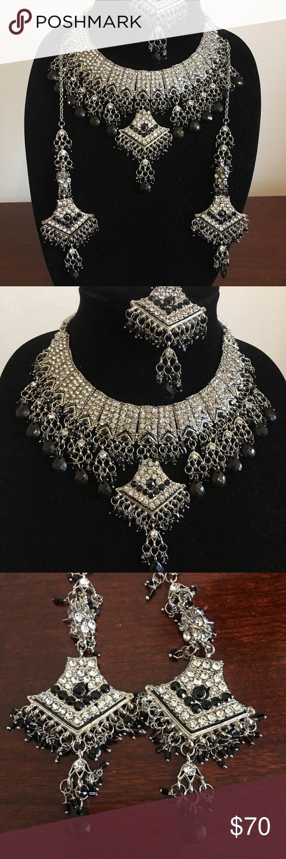 Indian/ Pakistani Jewelry Brand New Bollywood Inspired Jewelry Set- silver plated with black Necklace, earrings, and a head piece (tikka)   #fashion #indian #pakistani #bollywood #jewelry #necklace #earrings Jewelry Necklaces