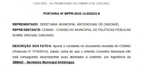 MP apura suposta ingerência de secretaria em relação ao Comad - CGN - O maior portal de notícias em vídeo de Cascavel.