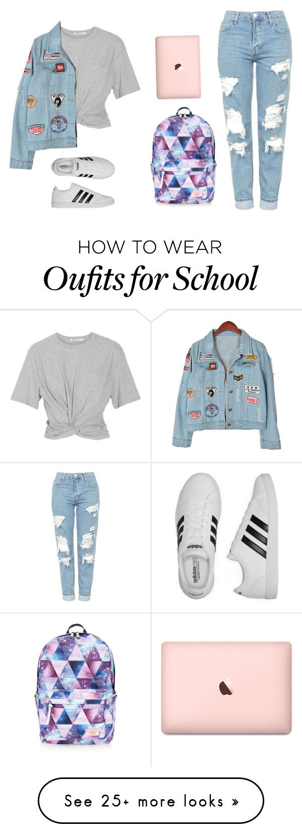 """Back to school nearly but cool"" by nuria-f on Polyvore featuring Accessorize, T By Alexander Wang, Topshop, Chicnova Fashion and adidas"