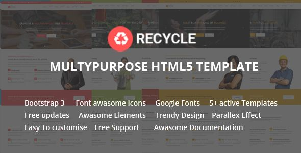 Recycle - Responsive Multipurpose HTML5 Template@creativework247 - fitness templates free