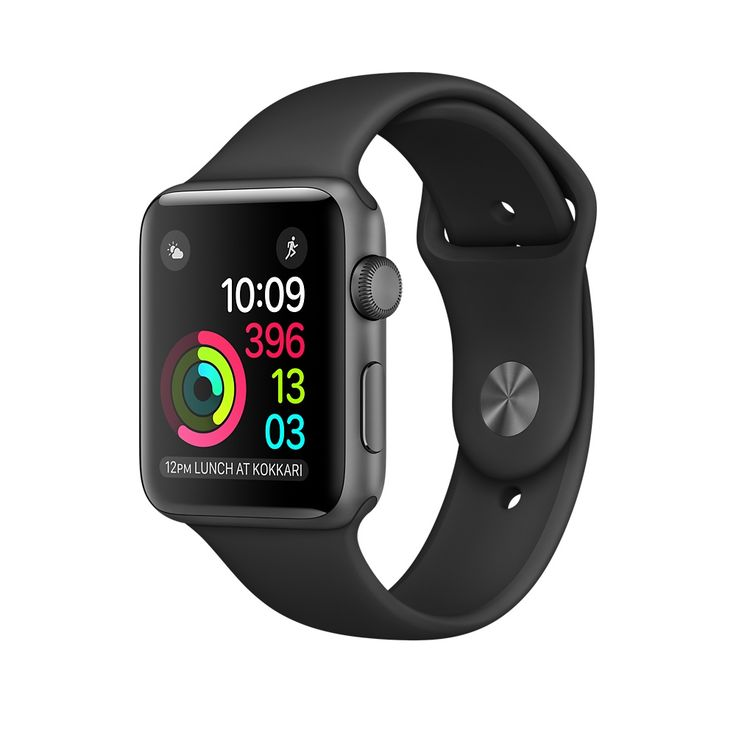 Apple Watch Space Gray Aluminum in 38mm in Series 2 with built-in GPS.