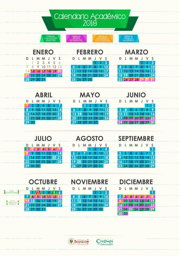 Calendario académico Boyacá 2018