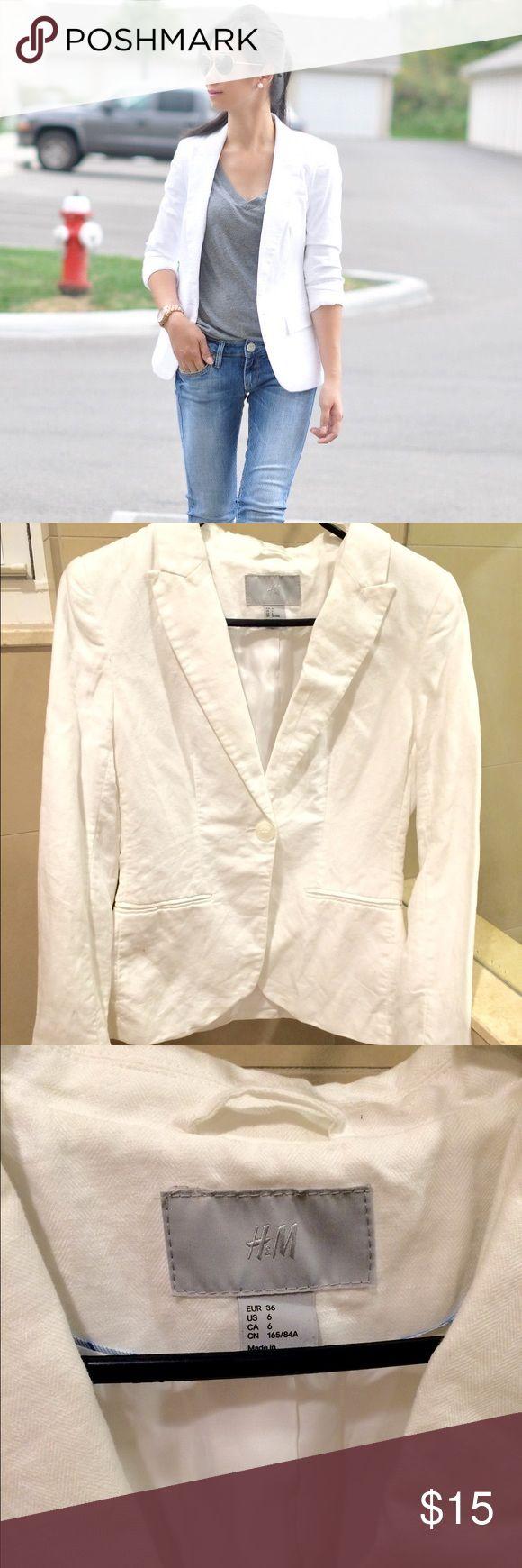 White blazer jacket office Sz S US 6 Worn once H&M Jackets & Coats Blazers