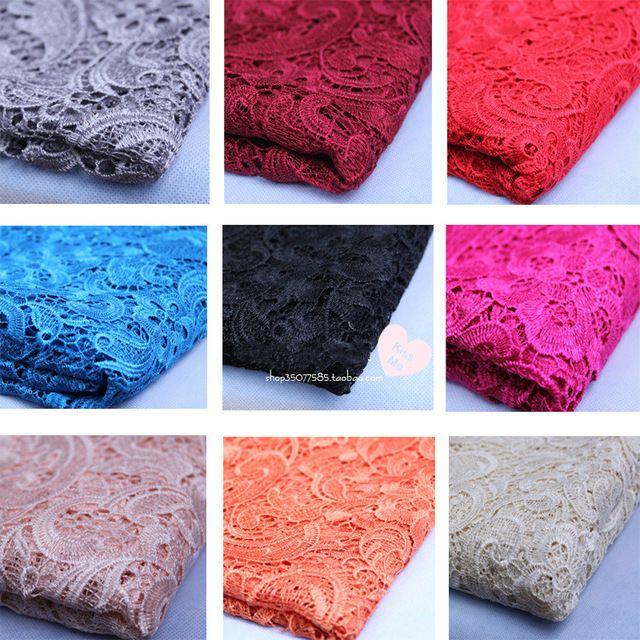 Бесплатная Доставка Супер Красивая Вышивка растворимые в воде Кружева Ткань Одежды Ткани 130 см 1 метр