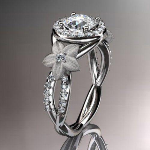 14kt white gold diamond leaf and vine wedding ring,engagement ring,......