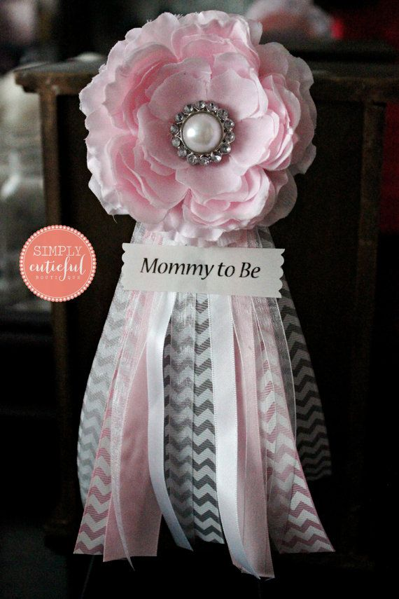pink grey chevron baby shower corsage with mommy to be future mom and custom pins badge pink baby shower corsage pin clip