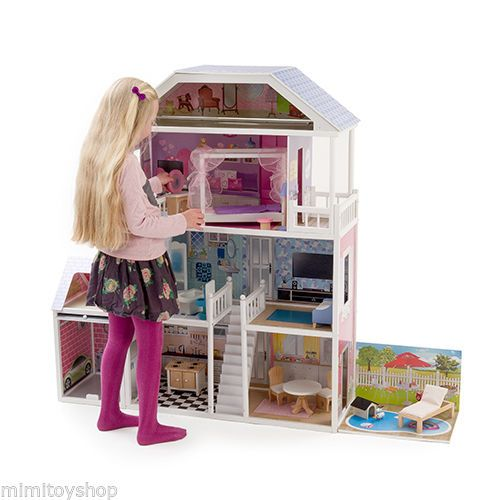 wooden barbie doll furniture. new mamakiddies 1 3metre tall barbie wooden dolls house furniture garage pool ebay doll