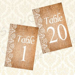 Beautiful Mix of Lace and Burlap! These table numbers add both a rustic and elegant feel to your special day! Set (1-20) come in a digital file