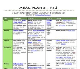 "Free Fall ""Real Food"" Meal Plan! - 100 Days of Real Food"