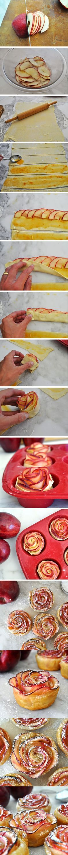 apple roses, rosas de manzana, flores de manzana, pasteles de amnzana, albaricoque, hojaldre, DIY, recipe