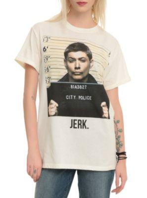 Supernatural Dean Jerk Mugshot Cuff Girls T-Shirt // Mary