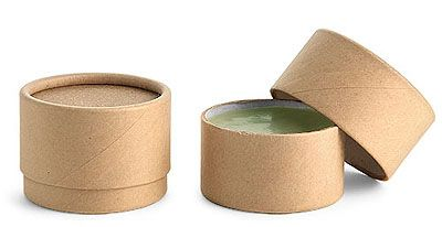 Brown Paperboard Jars w/ Flush Fit Caps have a smooth sculpted look and are made from 100% paperboard. Paperboard is renewable, biodegradable, and recyclable.  They are also made with an oil resistant paper barrier and could be appropriate for products such as lip balms or cosmetics.