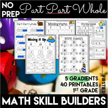 These Part Part Whole Math printables provide extra practice for building understanding of part-part-whole relationships. They're great for test prep, morning work, RTI intervention, center work, homework, independent practice, test prep. 40 printables included with multiple practice options in 5 gradients, which makes it great for differentiation, too!