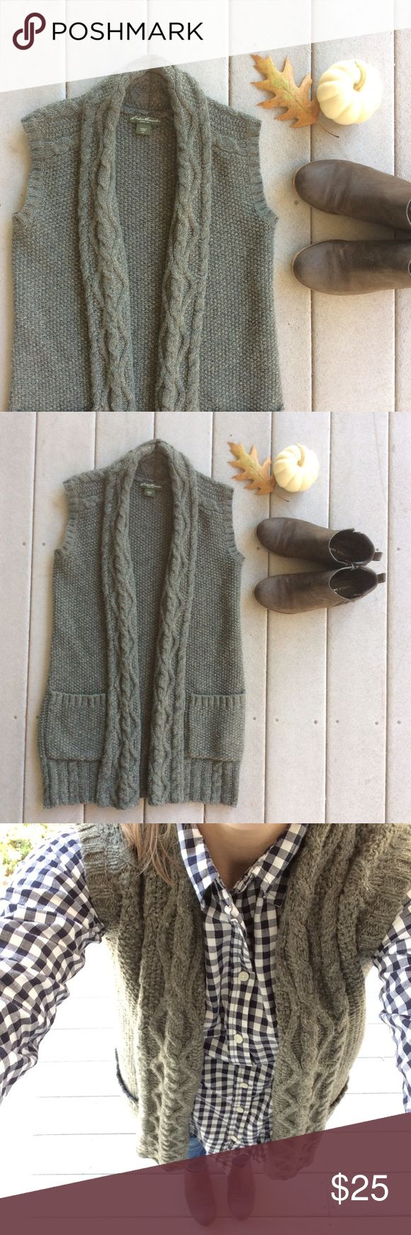 """🆕LISTING {Eddie Bauer} Olive Green Knit Vest 🍂 Wear this cozy knit vest over your favorite buttondown for a lovely fall look! Great quality piece to add to your closet. In excellent condition. 29"""" Long. 77% wool, 23% nylon. Hand wash. Eddie Bauer Jackets & Coats Vests"""