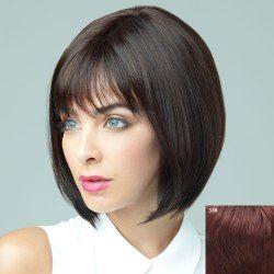 Trendy Full Bang Elegant Charming Short Straight Bob Human Hair Capless Wig For Women