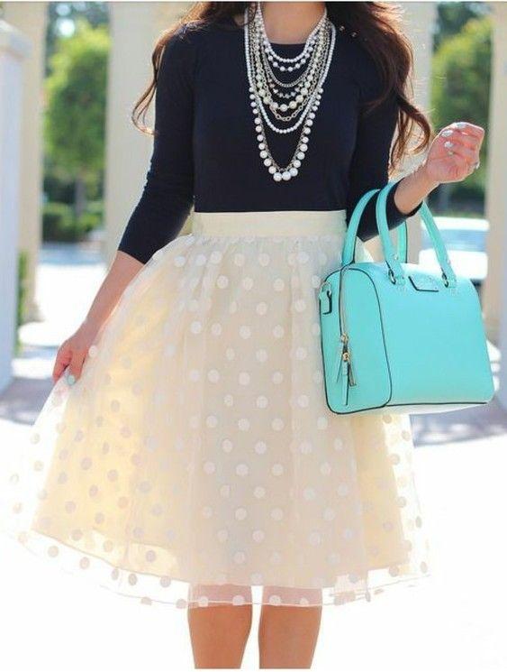 Polka dot cream tulle skirt