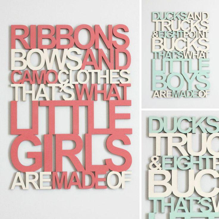 'Little Boys' and 'Little Girls' Nursery Wall Hanging