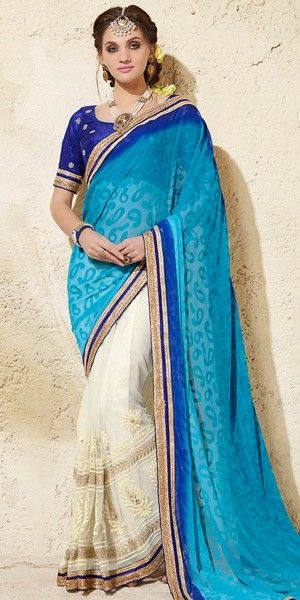 Enthralling Blue And White Net Saree With Blouse.