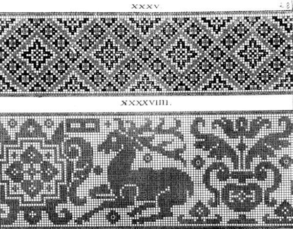 "Broderimønster fra 1597, Tyskland. Hjort..., Broderimønster fra 1597, Tyskland. Hjort fra Johann Sibmackers ""Schøn Neues Modelbuch""."