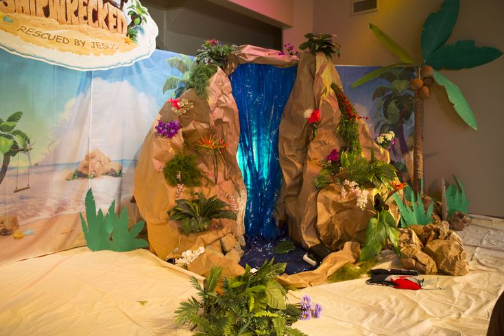 Main stage waterfall - Shipwrecked VBS #shipwrecked #shipwreckedVBS #decorating